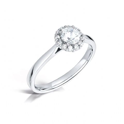 GIA Certified G VS Diamond cluster ring, Platinum. Round brilliant centre stone - 0.50ct